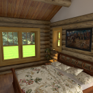 Interior rendering of custom log home bedroom with large windows viewing to forest