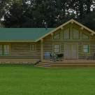 Rendering of log cabin with french doors to patio