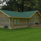 Rendering of ranch style log home with patio