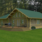 Rendering of ranch style log home with large windows and patio.