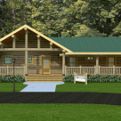 Rendering of handcrafted ranch style log home with covered porches