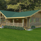Rendering of ranch style handcrafted log home with covered porch