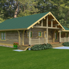 Rendering of log cabin with covered porch at entry