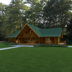 exterior of log home with green metal roof