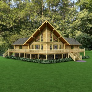 Exterior of log home