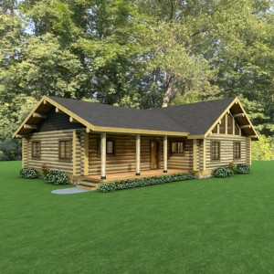 Exterior ranch style log home