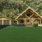 Rendering of custom log home with log truss, covered porches and 2 car garage