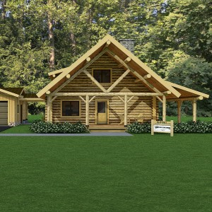 Front rendering of log cabin