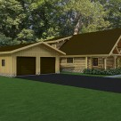 Rendering of 2 car garage attached to custom log home with diamond truss at entry