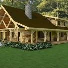 Rendering of Scandinavian full scribed log home with chimney and covered porches