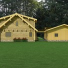 Rendering of handcrafted log home with detached garage