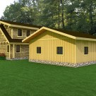 Rendering of garage with board and batton siding with custom log home attached.