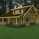 Rendering of log home with log gable end, shed dormer and covered porch