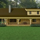Rendering of log home with shed dormer and covered porch with knee braces