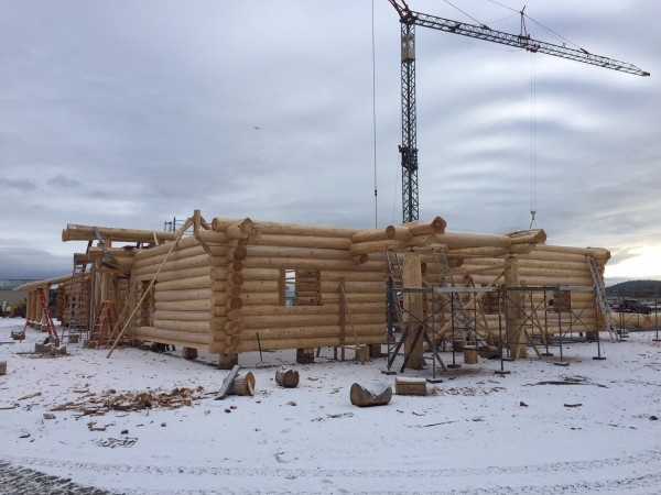 A custom log home under construction in the yard.