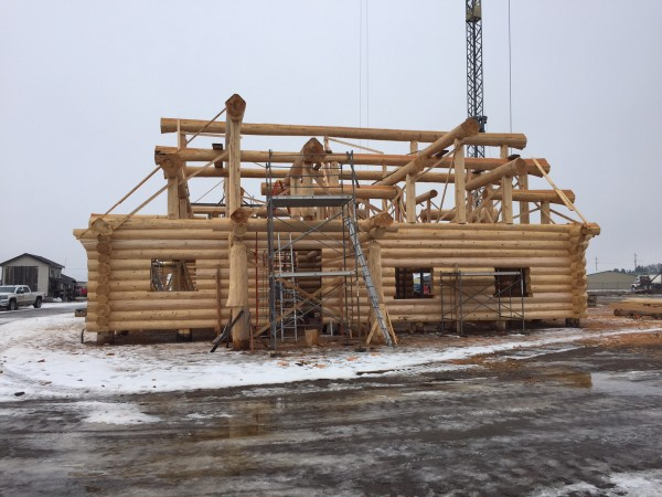 A complex log roof support system is finalized and the handcrafted log shell is ready to go.