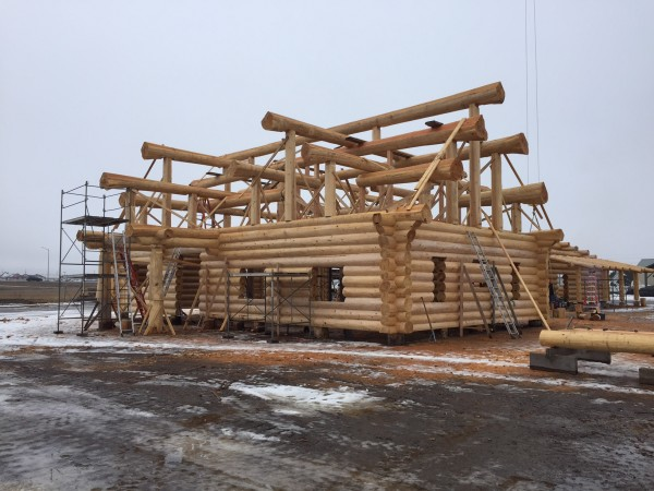 A completed full scribed log home shell.