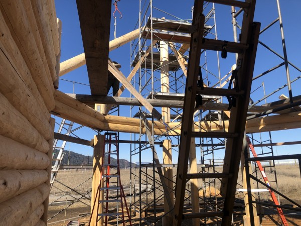 Scaffolding and ladders provide the required safety