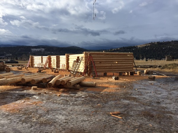 Photos taken in the yard of handcrafted log homes, keeps our clients up-to-date on the progress of their home.