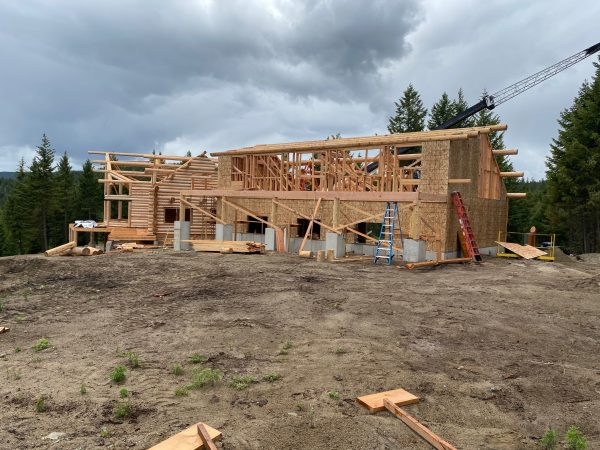 This custom log home has been reset at the homeowners site and is ready for the general contractor to finish.