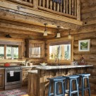 Log home kitchen with breakfast bar and blue bar stools