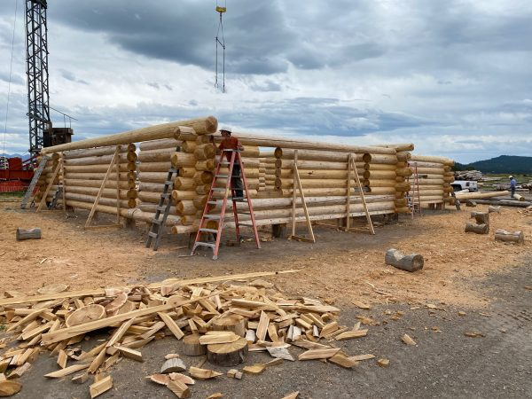 Construction of full scribe log homes creates a nice pile of firewood. It doesn't even need to be split.
