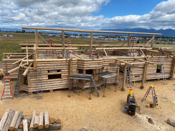 Overhead view of the loft area in this log home under construction.