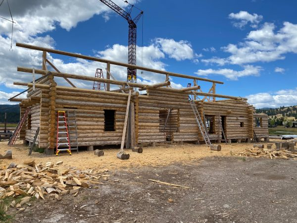 Skip peeled lodgepole pine give character to this log home.