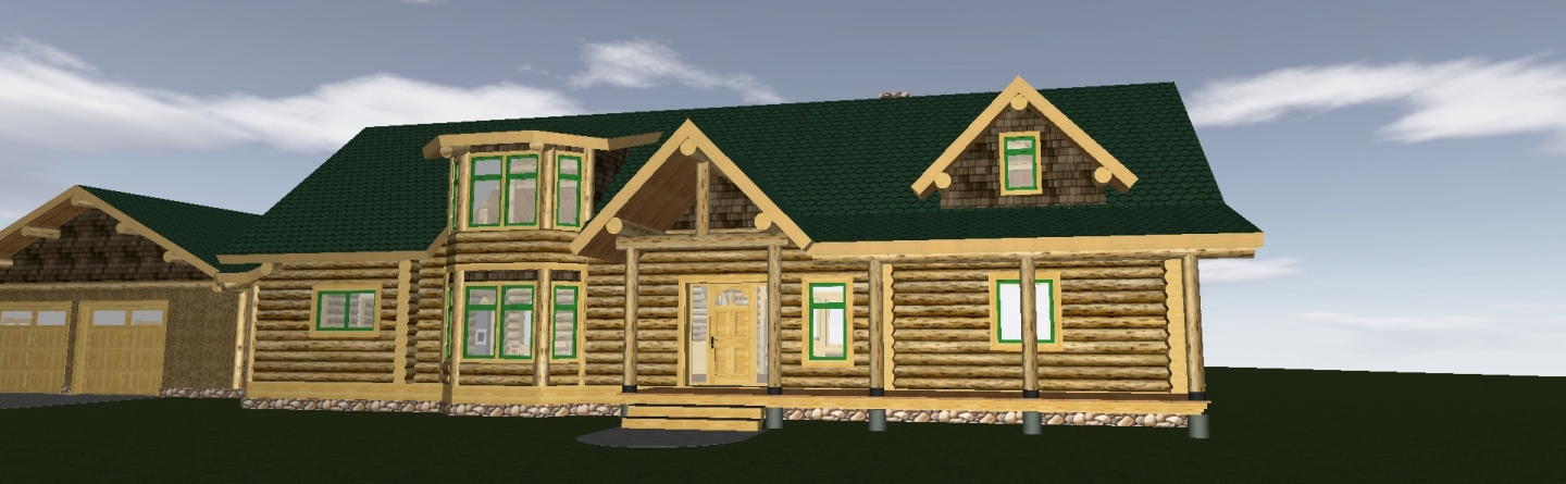 Log home rendering with two story bay window.
