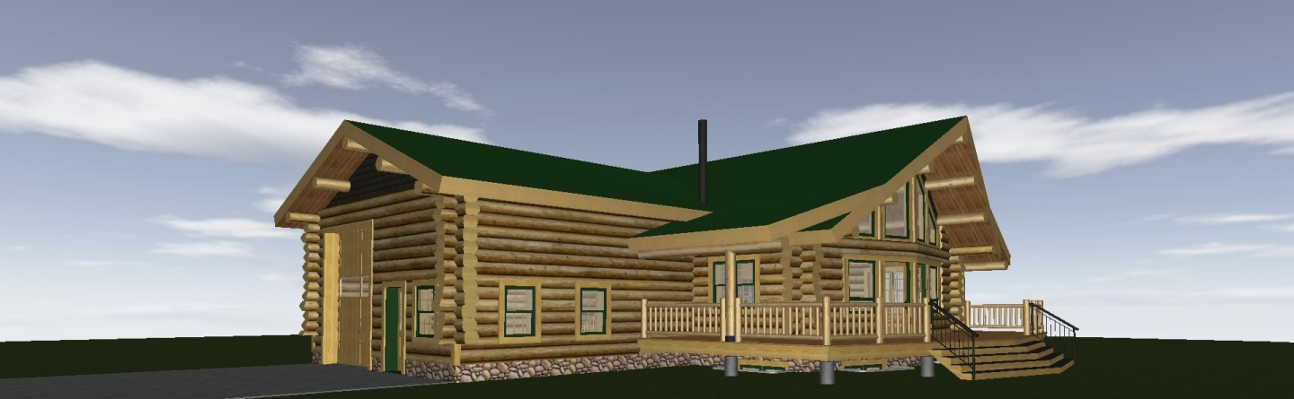 Rendering of a log home with a prow and attached garage.